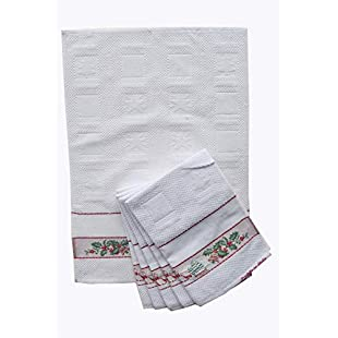 Tea Towels Kitchen Christmas 3Piece Set with Insert in Aida 100% Cotton Made in Italy:Seks-irani