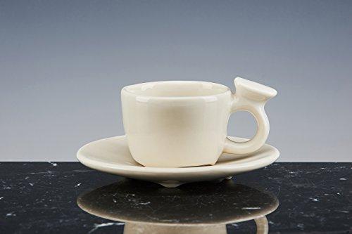 Tasse de méditation (café) de petite Porcelaine émaillée blanche ; Lot de 2 tasses avec PIATTO. fait à la main tasses design !