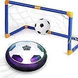 amzdeal Air Football Kit Balón Fútbol Flotante (1 Fútbol Flotante+1 Mini Fútbol +1 Portería de Fútbol +1 Aguja de Gas) Aire Fútbol para Actividad Interior o Exterior con Luz LED y Música (1 Goal)