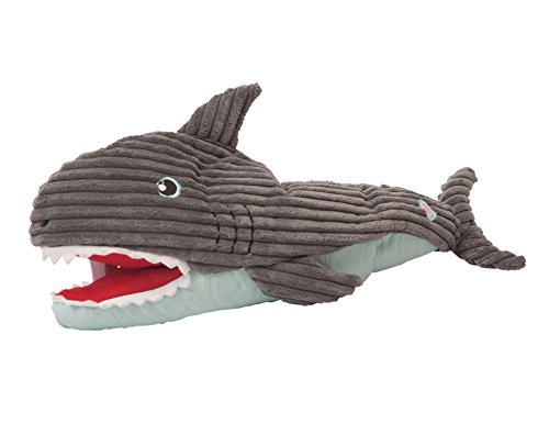HuggleHounds Plush Durable Squeaky Craig The Interactive Shark Puppet Toy