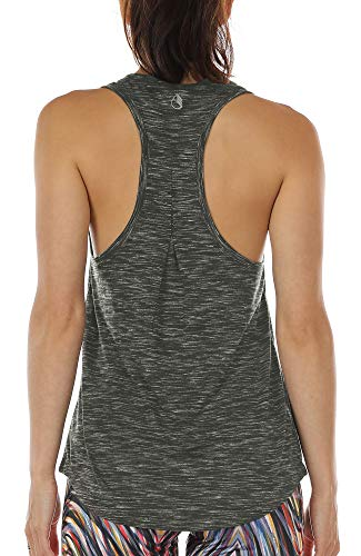 icyzone Damen Yoga Jogging Racerback Tank Top Atmungsaktive Workout Gym Shirt (M, Charcoal)