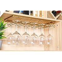 Tosbess Soporte para Copas de Vino - Soporte de Acero para Colgar Copas en la Cocina, Bar o Restaurante - con 5 rieles