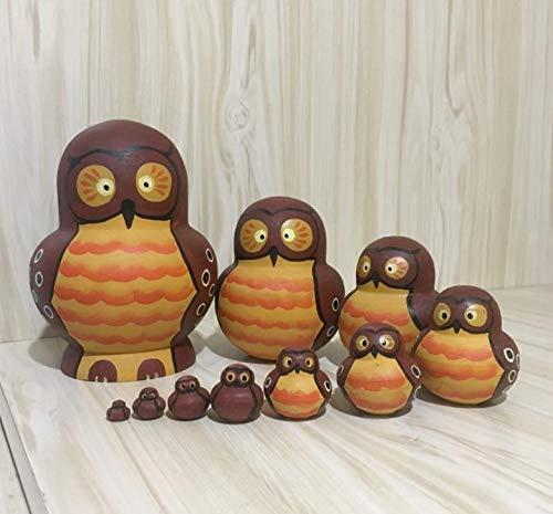 biggroup 10 stk Cartoon Eagle Holz Puppen Matroschka Traditionelle Russische Puppen Nistkasten, 2#