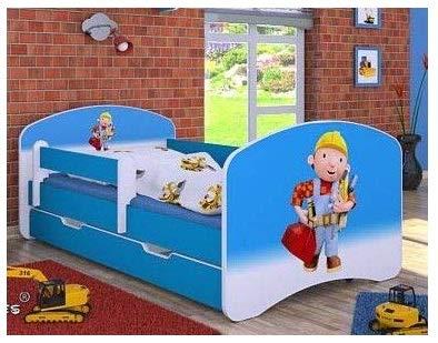 naka24 Kinderbett mit Matratze und Bettkasten für Jungen (160x80 cm, Bob der Baumeister)