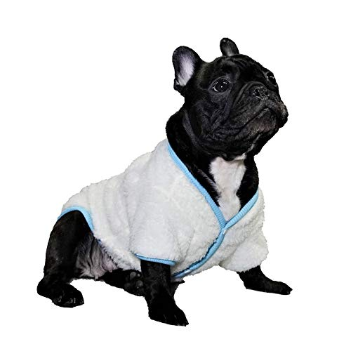 Loyanyy Sherpa Dog Sweater Warm Winter Coat for Cat Dog Cozy Fleece Clothes for Small Medium Dog Thick White Vest Blue Large