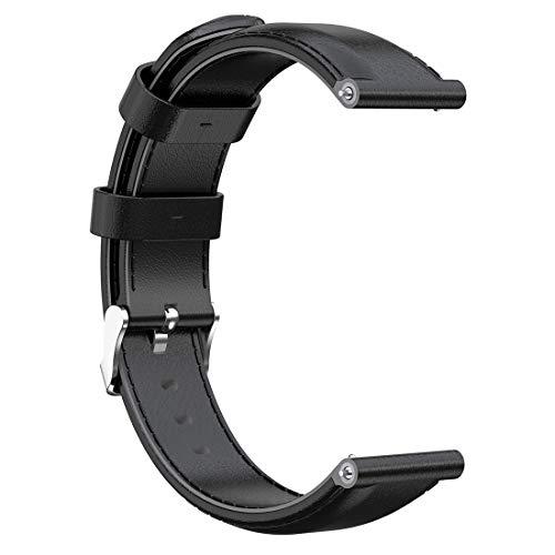AWADUO - Cinturino di ricambio per Suunto D5, 24 mm, in vera pelle, compatibile con Suunto Spartan Sport Wrist HR Baro/Suunto D5/Suunto 9 (pelle nera)