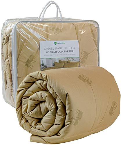 HealthyLine Organic Camel Hair Wool Winter Comforter, 450 GSM, Hypoallergenic Bedding, Cotton 233 TC, Duvet Blanket Quilt with Corner Tabs Queen, 89 in x 89 in