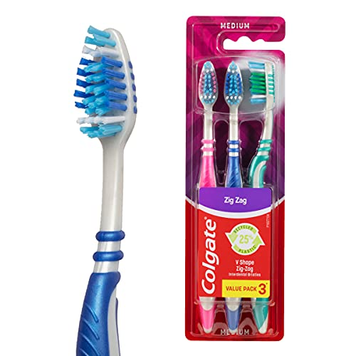 Colgate Zig Zag Manual Toothbrush, Value 3 Pack, Medium Bristles, Interdental Reach