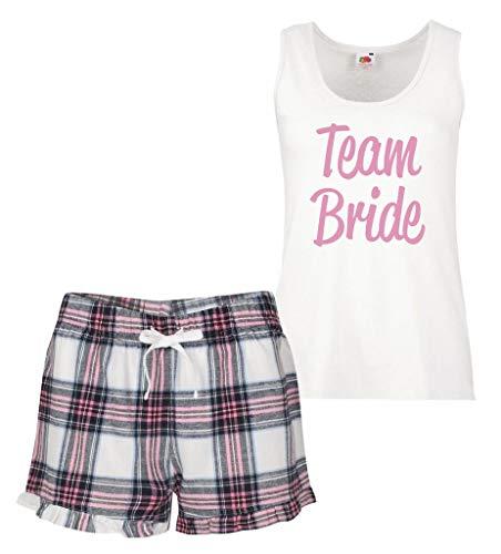 60 Second Makeover Limited Team Braut Pyjama Set Pink Schottenkaro Rüsche Hochzeit Junggesellinnenabschied - Rosa, Small (UK 10)