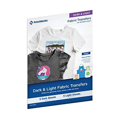 Printworks Dark & Light Fabric Transfers, for All Fabric Colors, 5 Dark Sheets & 5 Light Sheets,10 Total Sheets, Inkjet, 8.5 x 11 (00537)