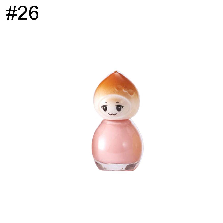 hamulekfae-人形デザインクリアキッズネイルポリッシュクイックドライロングラスティングワニスラッカー 26#