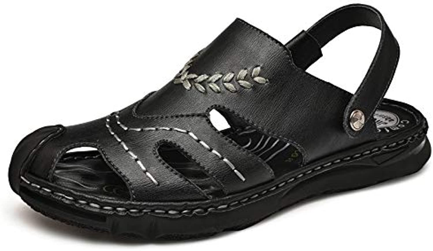 Classic Beach Sandals For Men Genuine Leather Comfortable Breathable Outdoor Slippers Anti-slip Flat Collision Avoidance Round Close Toe Buckle Cricket shoes ( color   Black , Size   7.5 UK )