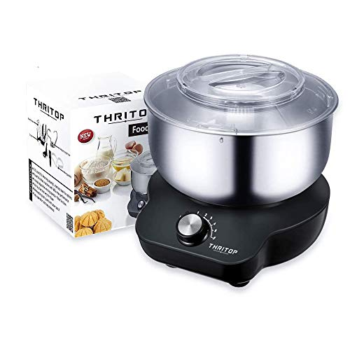 THRITOP Stand Mixer Food Mixers, with 5QT Mixing Bowl for Bread and Dough, Electric Mixer with Dough Hook, Whisk, Cookies Paddles and Spatula - 6 Speed Settings, 600 W New Concept Food Mixer(Elegant Grey)