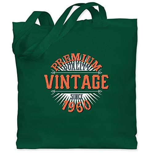 Shirtracer Geburtstag - 60. Geburtstag Vintage 1960 - Unisize - Dunkelgrün - Fun - WM101 - Stoffbeutel aus Baumwolle Jutebeutel lange Henkel