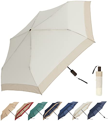 折りたたみ傘 レディース 超軽量 200g ワンタッチ 自動開閉 雨傘 UVカット 遮光 晴雨兼用 遮熱効果 ユニセックス (RA174アイボリーxベージュ)