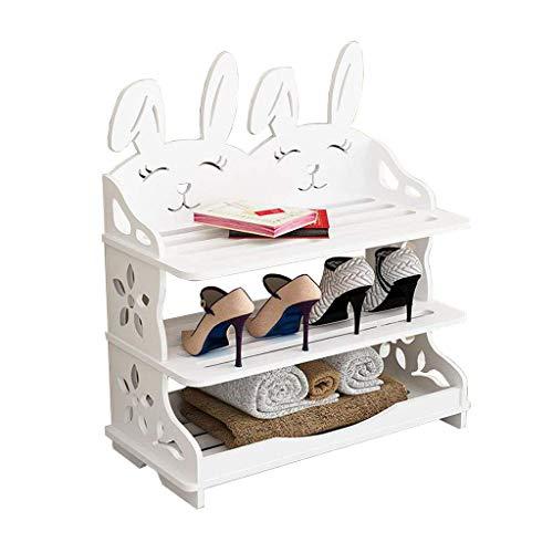 XXCHUIJU Zapato Estante zapatería gabinete de Almacenamiento Simple de Madera apilable almacenaje Pasillo Entrada versátil Creativo Conejo Forma Zapatos Organizador