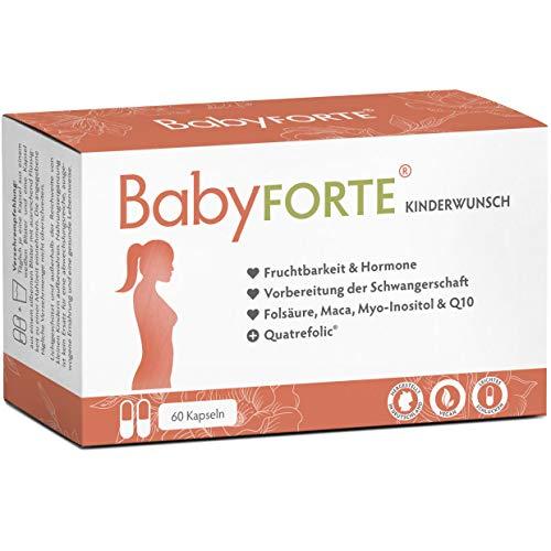 BabyFORTE® Kinderwunsch Vitamine – 60 Kapseln - Vegan + 800 Folsäure, Quatrefolic®, Jod, Vitamin D, Maca, Myoinositol, Q10 - Schwangerschaftsvitamine