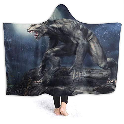 LISUMAL Tragbare Hoodie Decke,Heulender Werwolf Fantasy Monster Rocky Cliff...