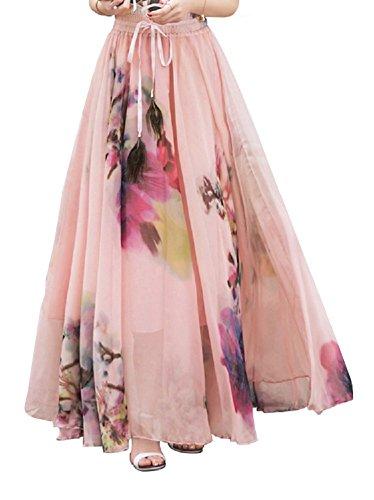 DEBAIJIA Falda Larga Mujer Maxi Bohemia Playa Vacaciones Gasa con Estampado Floral Talla Grande Cintura Elástica Rosa Claro 46- L