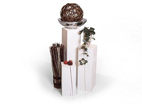 moebel-eins Blumensäule 3-er Set aus Holz Fichte massiv Dekosäule Holzsäule Säule Landhaus Design, Weiss, 19x19 cm
