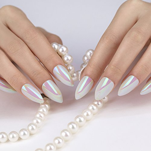 ArtPlus Stiletto White Gel Fake Nails Kit 24pcs x 4 (4-Pack) with Glue Full Cover 24pcs False Nails Buy 3 Get 1 Free