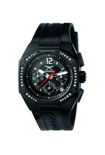 Carrera 4387821 - Reloj cronógrafo de mujer de cuarzo con correa de goma negra (cronómetro) - sumergible a 50 metros