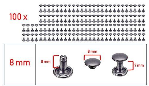 My Belt - 100 Stück Hohlnieten für Leder, Ledernieten 8mm Gunmetal, Doppelkappe Nieten, Gürtelnieten Kappe Schwarz