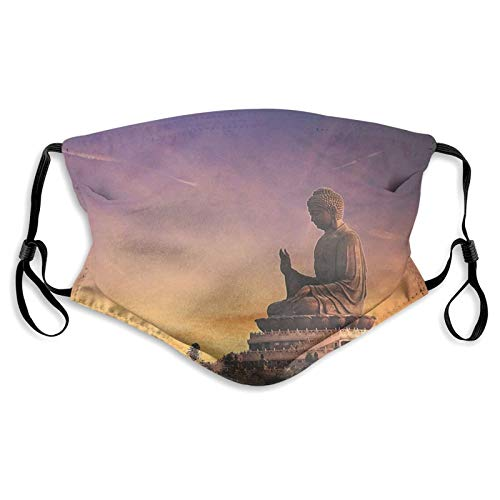 Tian Tan Buddha (Hong Kong, Lantau Island) Washable Cloth,Activated Carbon Filter with 5 Layers of Protection, Dust Mask for Face Covering