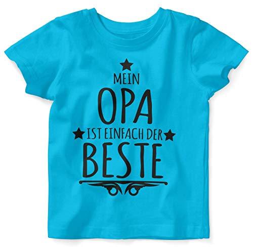Mikalino Baby/Kinder T-Shirt mit Spruch für Jungen Mädchen Unisex Kurzarm Mein Opa ist einfach der Beste | handbedruckt in Deutschland | Handmade with Love, Farbe:Atoll, Grösse:92/98