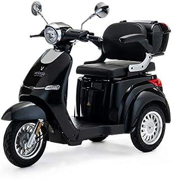 VELECO eléctrica de 3 ruedas VELECO para movilidad 1000W Cristal 3 colores (Negro)