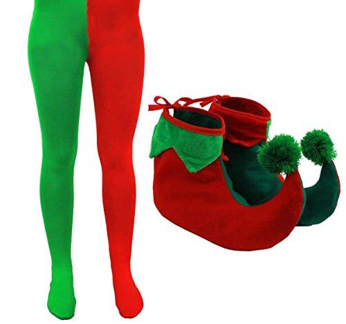 I LOVE FANCY DRESS LTD Conjunto DE Accesorios DE Disfraz DE Elfo para Adulto con Calcetines Rojos Y Verdes Y Zapatos DE Elfo Fiestas TEMATICAS DE Navidad (Plus)