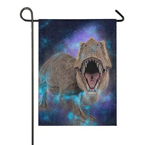 lovely baby-Z 3D T-Rex Dinosaur Galaxy Starry Night Sky Burlap Garden Flag Double Sided,House Yard Flags,Holiday Seasonal Outdoor Decorative Flag 12x18 Gift