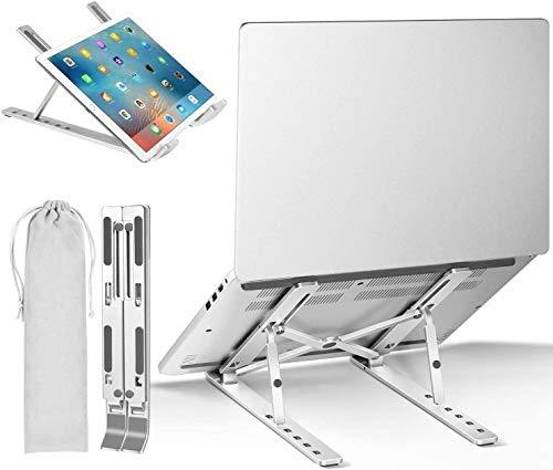 "Gift Gadgets Laptop Stand Portable Adjustable Aluminium Cooling Computer Tablet Stand, Ergonomic Riser Foldable Desktop Holder Compatible with MacBook Air Pro, HP, Lenovo 10-15.6"" Laptops"