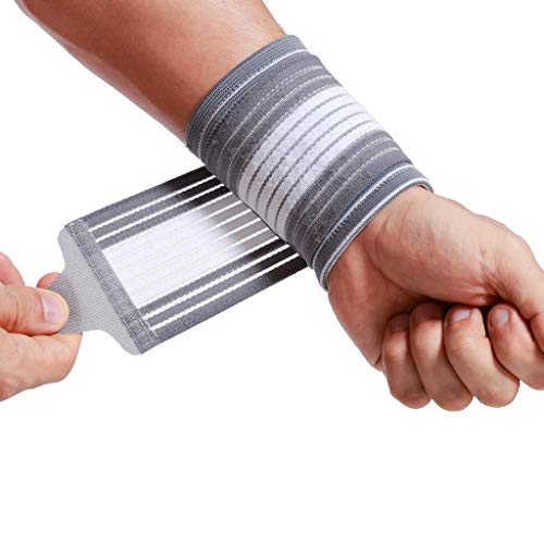 Neotech Care Handgelenkmanschette zur Unterstützung (1 Paar) - verstellbarer Kompressionsriemen - elastischer & atmungsaktiver Stoff - Tennis, Sport - Herren, Damen, rechts oder links - Grau (M)
