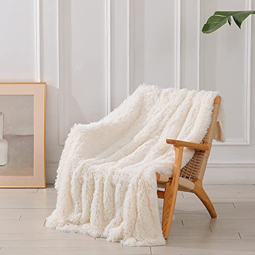 Decorative Extra Soft Fuzzy Faux Fur Throw Blanket 50' x 60',Solid Reversible Lightweight Long Hair...