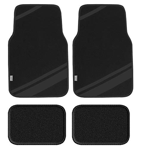FH Group F14501BLACK Universal Fit Carpet Floor Mats Full Set (with Faux Leather for Cars, Coupes, Small SUVs)