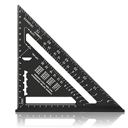 Squadra da Falegname in Lega di Alluminio 7 Pollici Metrico,90 Gradi Righello Triangolare da Carpentiere Ispessito (nero)
