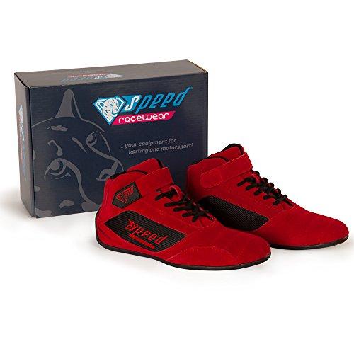 Speed Kartschuhe Milan KS-2 -Premium Kart Schuhe - Diverse Farben (Rot, 42)