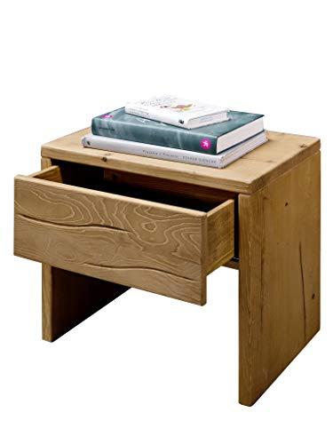 SAM Nachtkommode Basti, Fichtenholz honigfarben, massiv, geölt & gebeizt, Nachttisch mit Einer Schublade, 50 x 45,5 x 35 cm