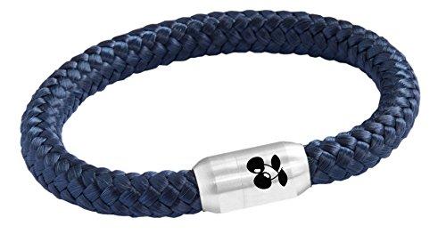 Kiss Me!,il braccialetto originale di Ibiza con cinturino di corda per vela con incisione in ciliegio e acciaio inossidabile, colore: blu marino, cod. KM-2018-I-89