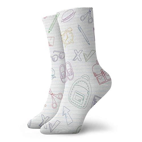 Preisvergleich Produktbild Pengyong Outline Schulranzen und Schreibwaren zufällige Casual Crew Socken Wicking Atmungsaktiv Laufen Training Sport Wandersocken für Männer und Frauen