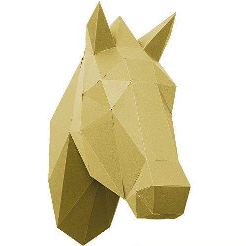 PaperShape 3D Pferd ohne Kleben, ausgeschnitten, vorgefalzt. Wand-Trophäe als Kinderzimmer-Deko aus FSC-Papier in 3 modernen Farben Pferd-Kopf Maße 37 x 13 x 33cm. Made in Germany (liberate gold)