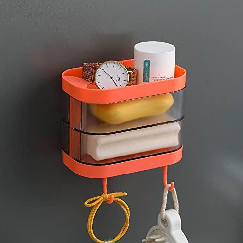 Shubiao Jabonera giratoria para abrir/cerrar adhesivo a prueba de salpicaduras con colector de agua y colgador para baño y cocina