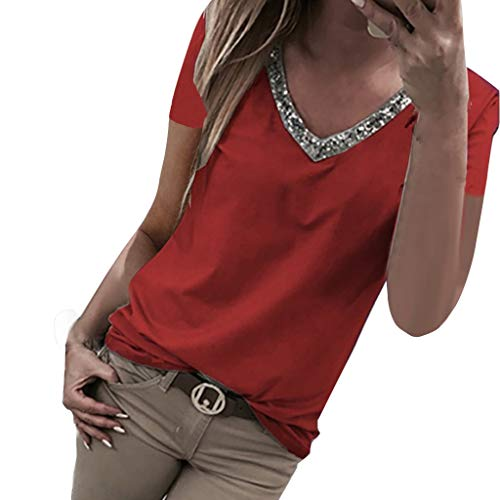 VEMOW Camisetas Moda Mujer Casual Lentejuelas de Manga Corta con Cuello en v Tops Blusa Casual Camiseta(Rojo,S)