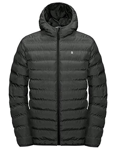 Little Donkey Andy Men's Warm Puffer Jacket Lightweight Hooded Windproof Winter Coat with Recycled Insulation Black Heather L
