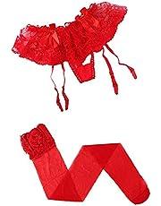 ملابس داخلية نسائية من الدانتيل حمالة حزام الرباط مع جوارب عالية الفخذ (أحمر)