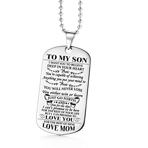 Jvvsci Dad Mom to Son Dog Tag I Want You to Believe Deep in Your Heart Inspirational Message Pendant Necklace Birthday Jewelry Gift for Boys Teen (mom to Son)
