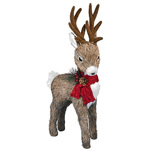 Bloomingtons Direct Christmas Standing Reindeer Figure with Red Scarf Christmas Figurine Decoration