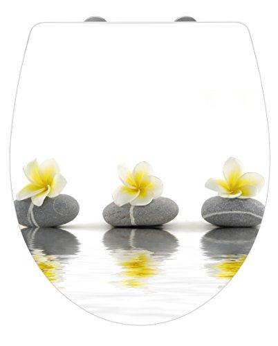 Wenko WC-Sitz Hochglanz Acryl Stones with Flower, High Gloss Oberfläche, Toilettendeckel mit Absenkautomatik, aus Duroplast, 39 x 45 cm