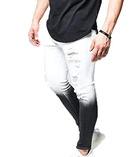 Jeans Skinny Stretch Noir et Blanc dégradé pour Hommes
